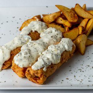 Podgoricki popeci Las kare, kajmak, sir, pršuta, tartar sos, aromatični krompir