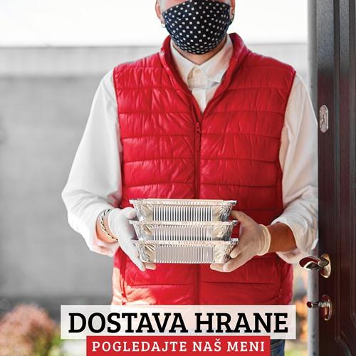 Dostavljac sa rukavicama i maskom dostavlja hranu na vasu adresu samo za vas